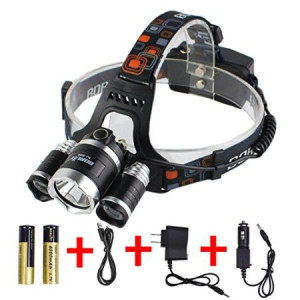 Boruit Rechargeable Waterproof LED Headlamp Flashlight Head Lamp with 3*L2 Cree