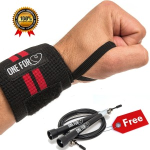 "One For Heart *Super High Quality* Wrist Wraps 14"" - Medium Duty with Thumb Loop - Best for Crossfit/Weightlift"