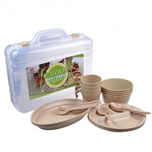 Wealers 24 Piece Plastic Reusable Tableware Set, Outdoor Dinnerware Set, Plates Cups Bowls Spoons Forks, Great for Picnic Camping Fishing or Any Outdoor Event,
