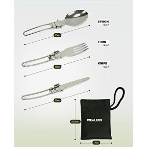 Wealers Stainless Steel 3 Piece Folding Camping Picnic Utensil Set, Spoon Fork Knife,