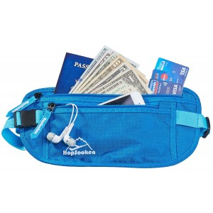 Hopsooken Travel Money Belt: Waist Pack for Running and Cycling, Rfid, Comfortable, Durable and Lightweight Hidden Travel Passport Wallets.