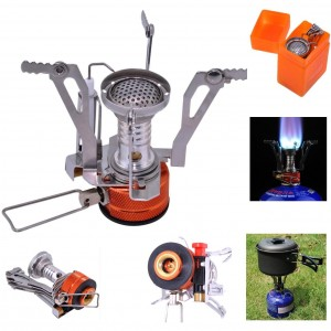 Camping Stove, Sahara Sailor Portable Collapsible Outdoor Camp Stove Butane Propane Burner for Gas Canisters with Piezo Ignition