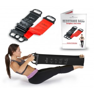 """Abco Tech Resistance Bands - Set of 2 With Handles - Upper Body Band 31"""" Lower Band 52""""- Ideal for Pilates"""