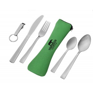 Tapirus Camping Eating Utensils To Go | Durable Stainless Steel Lightweight Construction Flatware | Travel Mess Cutlery Kit With Spoon, Teaspoon, Knife, Fork and Bottle Opener | Comes In A Carrying Case