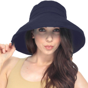 Simplicity Women's Summer Solid Colored Cotton Bucket Hat with Big Fold-up Brim