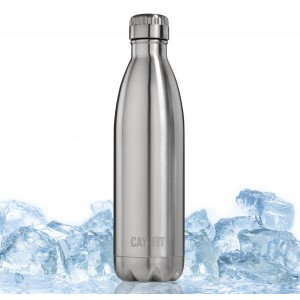 Cayman Fitness 25 oz Premium Insulated Stainless Steel Water Bottle. BPA Free, Will Not Sweat or L