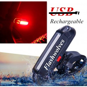 FlashWolves USB Rechargeable LED Bike Tail Light Rear Bike Tail light RED High Intensity Rear Bicycle Helmet Light Easy To install for Cycling Safety Flashlight Fits on Bicycles, Helmets, Waterproof