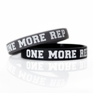 """Fitdom Rubber Band Bracelets Silicone Wristbands Custom Embossed with Inspirational Phrase """"ONE MORE REP"""
