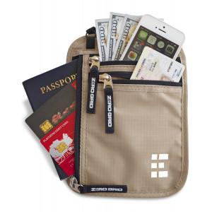 Zero Grid Neck Wallet w/RFID Blocking- Concealed Travel Pouch and Passport Holder