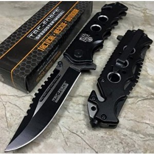 """Tac Force 809Bk Spring Assist Folding Knife with Two Tone Blade and Black Handle, 4.5"""""""
