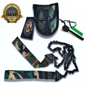 Sportsman Industries Sportsman Camo Pocket Chainsaw 36 Inches Long and FREE Fire Starter! This Hand Saw Tool is Best fo