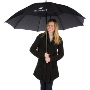 Ultimate Golf Umbrella by Minowl. Large Oversize Black Windproof Waterproof Automatic Collapsible.