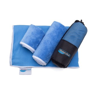 NEW Luxury Microfiber On-the-go Quick Dry Towel By Memorysoft - Bath Size - Includes 2 Freebie Towels and Case - Compact for Travel, Gym, Camping, and the Beach