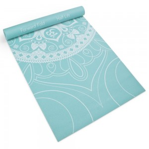 """3mm (1/8"""") Chakra Art Premium Printed Yoga Mat with Basic Pose Guide by Crown Sporting Goods"""