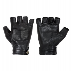 Hongye Mens Leather Motorcycle Gloves Driving Fingerless Gloves Black