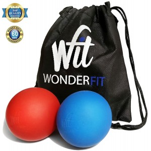 WonderFit Massage Lacrosse Balls for Myofascial Ball + Easy-to-Carry Canvas Bag + FREE Ebook with 10 Amazing Exercises - Set of 2 - Great for Trigger Point Therapy, Muscle Knots and Yoga