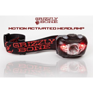 Grizzly Bone Brightest Motion Sensor Headlamp Flashlight with Red LED for Hands Free Running Gear, Hunting, Cam