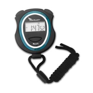 Travelwey Digital Stopwatch - Lap Timer, Time, Date, Alarm, No Frills Simple Operation, Light-Weight, Child Safe, Black