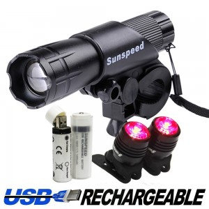 Sunspeed Waterproof USB Rechargeable LED Bike Light Set - Bright Headlight for Front and 2 Free USB Tail Lights for Back, for Road, Racing and Mountain Bicycles - 2 USB Rechargeable Batteries Included