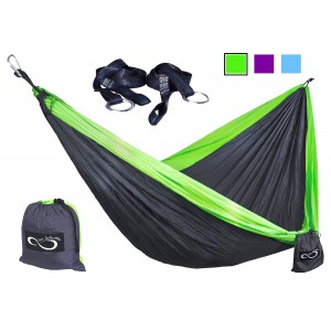 Live Infinitely Double Camping Hammocks - Made From Strong and Weather Resistant Lightweight Parachute Nylon- Hamm