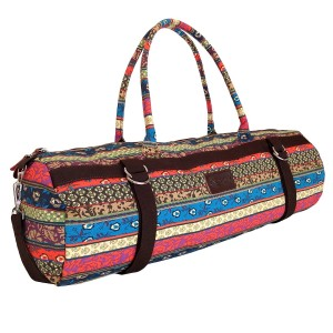 Kindfolk Yoga Mat Bag Carrier Patterned Canvas with Exterior Pocket and Zipper