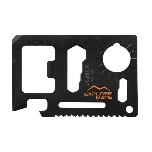 Premium 11 in 1 Survival Card with a Beer Opener – Multi Tool that fits Perfectly into your Wallet or Pocket – Credit Card Size Multitool (Black)