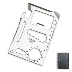 TLE Small Survival Tool Credit Card Size Multi Purpose Device with Pouch, Silver, Pack of 2