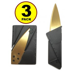 JJMG 3 pack Gold blade Credit Card Knife Folding Blade Knife Pocket Mini Wallet Camping Outdoor Pocket