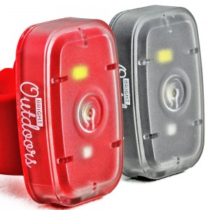 Bright Outdoors LED Safety Light / Flashlight Red and White Lights for Running, Dog Walking, Cycling and Night Sport. Strobe, Steady Modes. USB Rechargeable with Bike Strap, Armband and Belt Clip