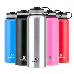 Winterial 40 oz Stainless Steel Insulated Double Walled Wide Mouth HOT and COLD Premium Water Bottle