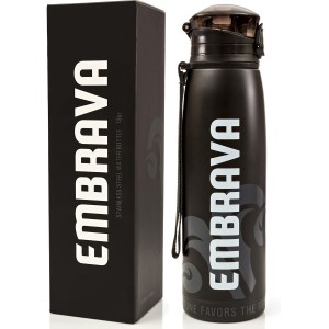Stainless Steel Water Bottle by Embrava - 18 Ounce - BPA Free - Sweat and Leak Proof w/ One-Click Swing Top Lid - Double Walled and Insulated - Made for Ice Cold Drinks
