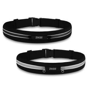 2 Pack - Zikee Running Belt, Waist Pack, Race Belt, Workout Pouch, Fanny Pack for Sports Men and Women, Fits Iphone 6/6s 6plus, Water Resistant, Suitable for Fitness, Cycling, Jogging – Black and Gray