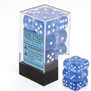 Chessex Dice d6 Sets: Borealis Sky Blue with White - 16mm Six Sided Die (12) Block of Dice
