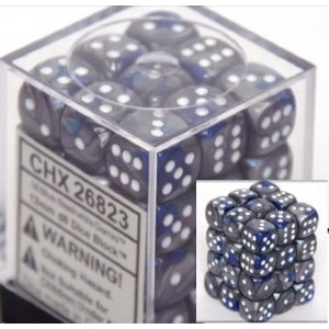 Chessex Dice d6 Sets: Gemini Blue and Steel with White - 12mm Six Sided Die (36) Block of Dice