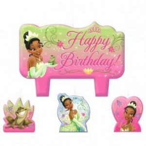 """Amscan Charming Tiana Frog and The Prince Character Themed Candle Set, Pink/Green, 1.25"""""""