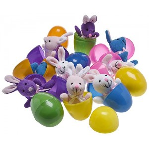 Toy World Plush Bunny Filled 3'' Colorful Easter Eggs (12 Pack )