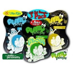 "Little Kids Putty Peeps Glow In The Dark ""Blue"", ""Yellow"" and ""Green"" Putty Tins (1.8oz each) Gift Set B"