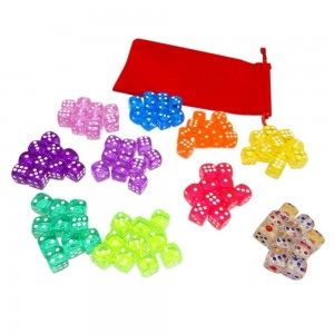 100 Translucent Colored Dice Set (Treasured Gems Collection) From Visual Elite Bringing Fun to a Game or Learning Math. Bonus Offer Free Dice Bag Included!