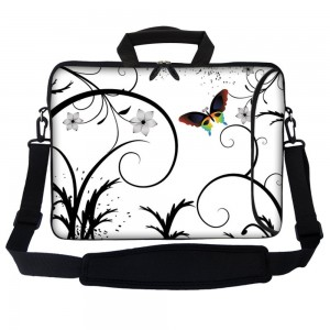"""Meffort Inc 17 17.3 Inch Neoprene Laptop Bag Sleeve with Extra Side Pocket, Soft Carrying Handle and Removable Shoulder Strap for 16"""" to 17.3"""" Size Notebook Computer - White Swirl Design"""