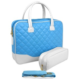 MyGift 14.1 inch Baby Blue Diamond Quilted Pattern with White Accent Trim Bubble Foam Padded Laptop Compu