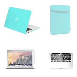 TOP CASE TopCase Rubberized Turquoise Blue Hard Cover with Matching Color Soft Sleeve Bag, Transparent TPU