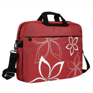 MyGift 17 Inch Red Flowers Floral Design Laptop Computer Carrying Case Messenger Shoulder Bag Briefcase