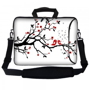 """Meffort Inc 15 15.6 inch Neoprene Laptop Bag Sleeve with Extra Side Pocket, Soft Carrying Handle and Removable Shoulder Strap for 14"""" to 15.6"""" Size Notebook Computer - Loving Bird Design"""