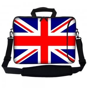 """Meffort Inc 17 17.3 inch Neoprene Laptop Bag Sleeve with Extra Side Pocket, Soft Carrying Handle and Removable Shoulder Strap for 16"""" to 17.3"""" Size Notebook Computer - England Flag Design"""