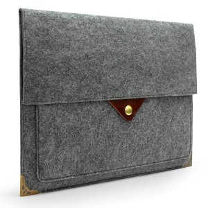 Lavievert Latest Designed Gray Felt Case Bag Sleeve Protector with Authentic Triangle Leather Flap