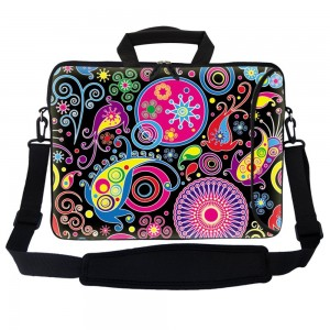 """Meffort Inc 15 15.6 inch Neoprene Laptop Bag Sleeve with Extra Side Pocket, Soft Carrying Handle and Removable Shoulder Strap for 14"""" to 15.6"""" Size Notebook Computer - Art Design"""