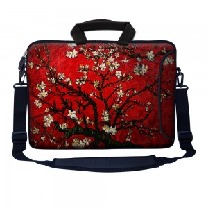 "Meffort Inc 17 17.3 inch Neoprene Laptop Bag Sleeve with Extra Side Pocket, Soft Carrying Handle and Removable Shoulder Strap for 16"" to 17.3"" Size Notebook Computer - Vincent van Gogh Cherry Blossoming"