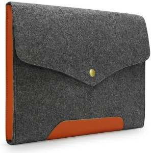 "Lavievert Gray Felt Case with Leather Bottom Bag Magnetic Button Sleeve for Apple 11"" MacBook Air"