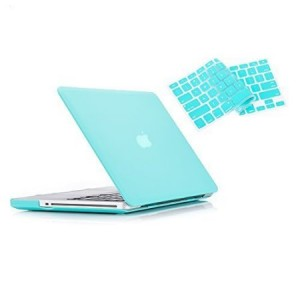 "Ruban - Macbook Pro 13"" with CD-ROM 2 in 1 Soft-Touch Hard Case Cover and Keyboard Cover for Macbook Pro 13.3"" Models: A1278 - Turquoise"