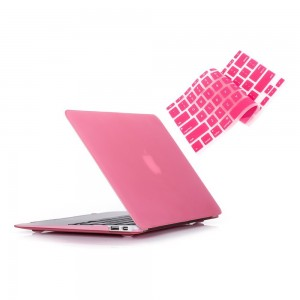 """Ruban - Air 13-inch 2 in 1 Soft-Touch Hard Case Cover and Keyboard Cover for Macbook Air 13.3"""" Models: A1369 / A1466 - Pink"""